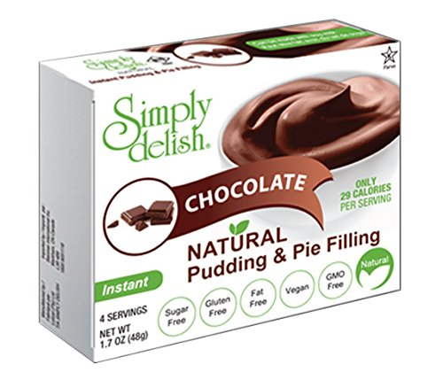 Simply delish Natural Pudding Dessert, Sugar free, 0.3 oz., 6-pack – Fat Free, Gluten Free, Lactose Free, Non GMO, Kosher, Halal, Dairy Free, Natural (Chocolate) Low Fat Chocolate Pudding