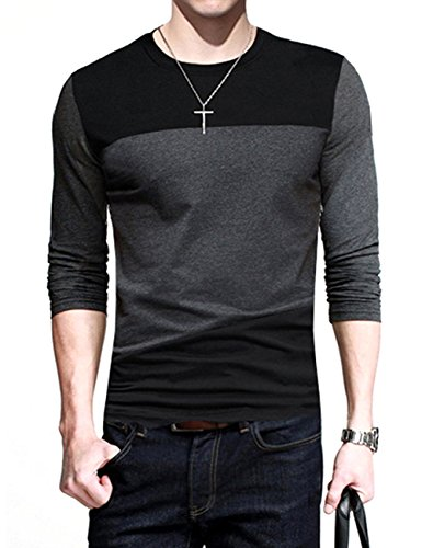 MrWonder Men's Slim Fit Contrast Color Stitching Crew Neck Long Sleeve Basic T-shirt Top Black XL