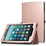 MoKo Case for All-New Amazon Fire 7 Tablet (7th Generation, 2017 Release Only) - Slim Folding Stand Cover Case for Fire 7, Rose Gold (with Auto Wake/Sleep)