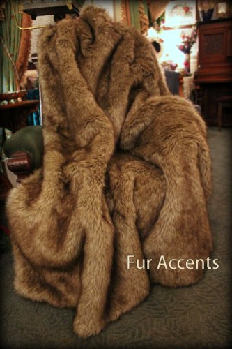 (Premium Quality Faux Fur Brown Wolf - Coyote - Faux Fur Throw Blanket - Luxuriously Thick and Soft - Minky Cuddle Fur Lining (XL 5'x7'))