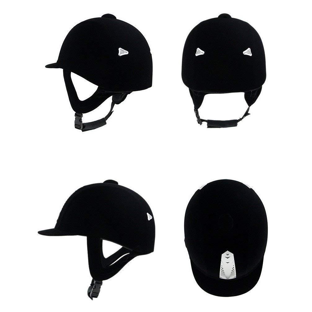 UNISTRENGH Velveteen Equestrian Helmets Comfortable Velvet Horse Riding Hat Horse Riding Helmets Lightweight Black Unisex