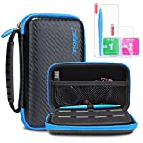 New Nintendo 2DS XL Carrying Case KINGTOP Hard Travel Protective Shell for New Nintendo 2DS XL/LL New Nintendo 3DS/XL/LL, Black & Blue