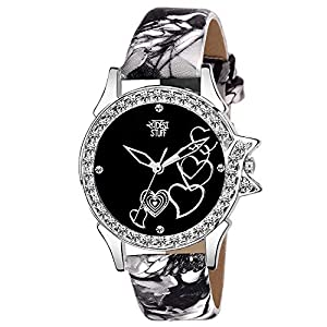Swadesi Stuff Analog Black Dial Heart Watch for Girls and Women