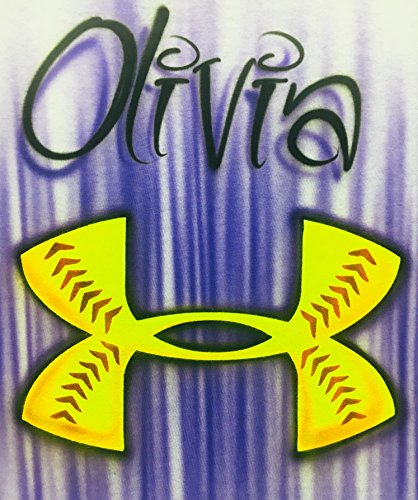 Airbrush T Shirt, Softball Logo, Personalized with Name ()