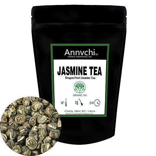(Dragon Pearl Jasmine Tea (5.3 Ounce), Green Tea Jasmine Caffeine Level Low, Chinese Senior White Jasmine Tea Pearls Loose Leaf Tea (150 Gram) … (Jasmine tea 2 oz))