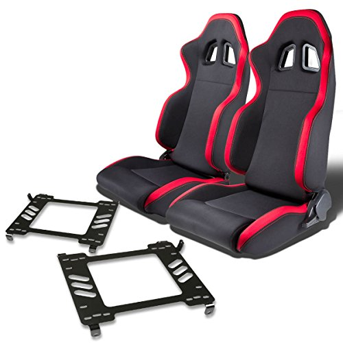 Pair of RSXL01RD Racing Seats+Mounting Bracket for Ford Mustang 5th Gen