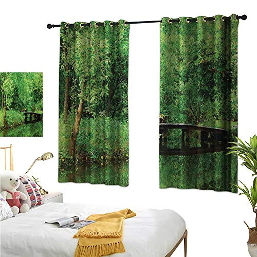 MartinDecor Tree Decor Curtains by Deep in Forest Theme Woodsy Landscape Leaves and Bridge Foliage Lush Rural Scenery W55 x L39,Suitable for Bedroom Living Room Study, etc.