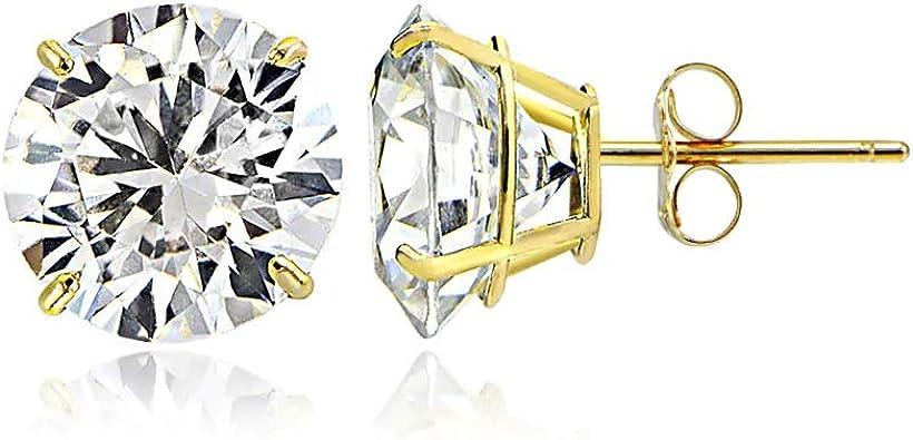Jewel Tie Solid 14K White Gold Cubic Zirconia CZ Infinity Stud Earrings With Screw Back