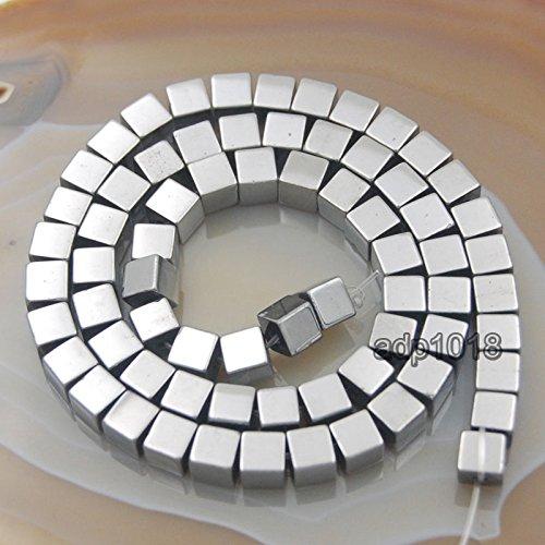 - AD Beads Hematite Gemstone Smooth & Matte Square Cube Beads 16'' (6mm, Smooth Metallic Silver)