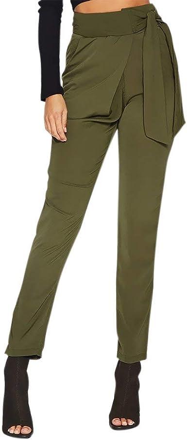 Elegantes Moda Pantalones De Tela Mujer Primavera Bandage Con Lazo Con Bolsillos Color Solido Delgado Basic Ropa Slim Fit Largos Pantalones De Moda Joven Comodo Trousers Estilo Moderno Ropa Amazon Es Ropa Y