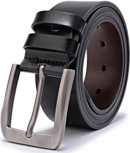 QUEYUB Men's Dress Belts Genuine Leather 1.5' Wide Alloy Prong Buckle Gift Box (28-30, Black)