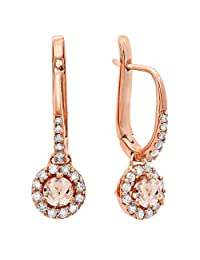 14K Rose Gold Round Ladies Halo Style Dangling Drop Earrings 1/2 CT