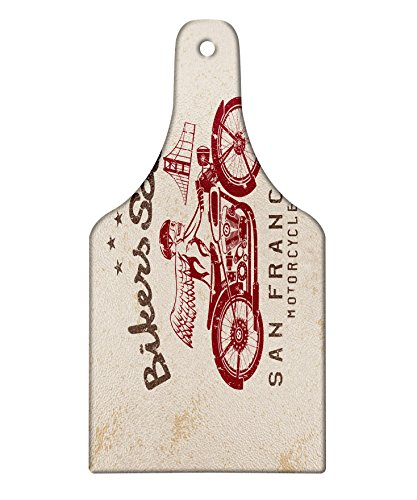 (Lunarable Retro Cutting Board, Bikers Soul San Francisco Emblem with Skull Wings Riding Motorcycle Dead Illustration, Decorative Tempered Glass Cutting and Serving Board, Wine Bottle Shape, Beige Ruby)