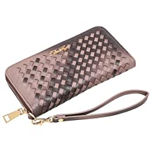 Aitbags Classic Soft Woven Leather Wristlet Women's Wallet Zippered Around Purse