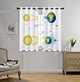 Stylish Window Curtains,Educational,Solar and Lunar Eclipse Planet Earth Sun Moon Orbit Astronomy Science Decorative,Blue Green Mustard,2 Panel Set Window Drapes,for Living Room Bedroom Kitchen Cafe