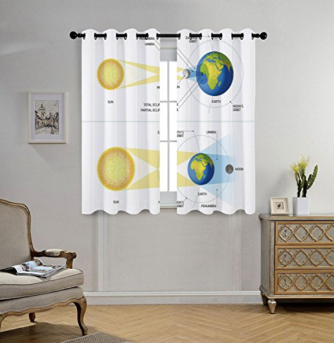 Stylish Window Curtains,Educational,Solar and Lunar Eclipse Planet Earth Sun Moon Orbit Astronomy Science Decorative,Blue Green Mustard,2 Panel Set Window Drapes,for Living Room Bedroom Kitchen Cafe by iPrint