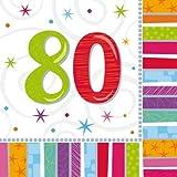 80 anniversaire L'âge Radiant Serviettes (pack de 16)