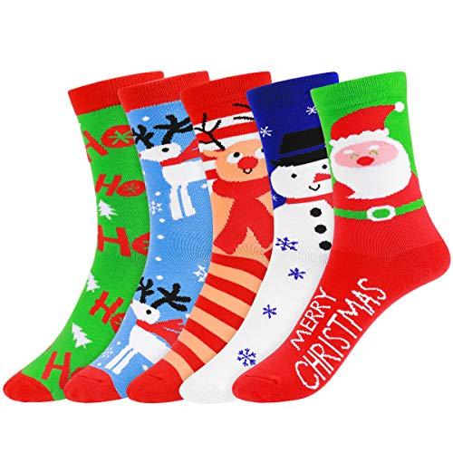 Tinksky クリスマスストッキング秋冬スタイリッシュコットンミドルソックスクリスマスフェスティバルホリデーソックス5ペア
