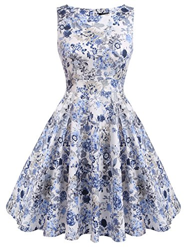[ACEVOG Women's Floral 1950s Vintage Rockabilly Swing Dress (PAT1, XL)] (1950 Dress)