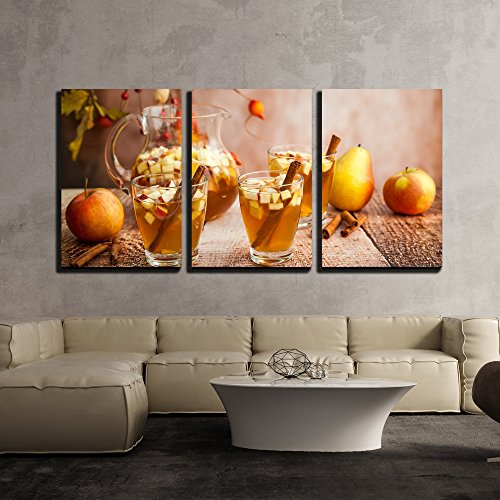 wall26 - 3 Piece Canvas Wall Art - Autumn Sangria with Apples,Pears and Cinnamon - Modern Home Decor Stretched and Framed Ready to Hang - 24
