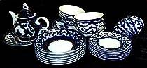 UZBEK LARGE POTTERY TEA SOUP SALAD PLOV SET «PAKHTA» NEW!!! A7367