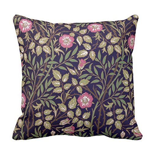 TORASS Throw Pillow Cover Pink Vintage William Morris Sweet Briar Floral Victorian Decorative Pillow Case Home Decor Square 18 x 18 Inch Pillowcase ()