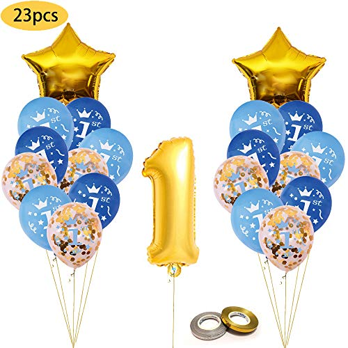 One First Birthday Decoration kit, Gold Confetti Balloon with [1st] Pattern,Pink and Blue Birthday Balloons Set Perfect for 1st Bday Party Supplies Girl or Boy with foil One Number 1 ... (Blue&Gold)