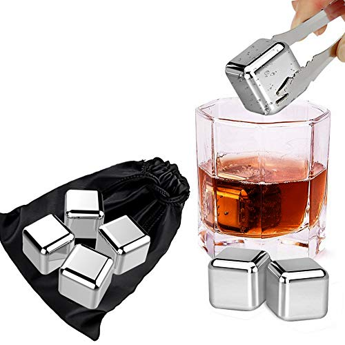 White Liqueur - Velouer Whisky Ice Cubes Reusable Stainless Steel Ice Stones for Whiskey, Vodka, Liqueurs, White Wine,Beer and All Drinking Without Diluting, Best Gift for Father's Day