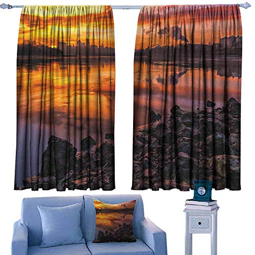 (Mannwarehouse Landscape Printed Curtain USA Missouri Kansas City Scenery of a Sunset Lake Nature Camping Themed Art Photo 70%-80% Light Shading, 2 Panels,55
