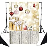 Christmas Photography Backdrops, DODOING 5x7ft Wood Floor Photography Background for Photographers Christmas Balls Gift Box Glitter Spot Wall Children Photo Studio Backdrop Props