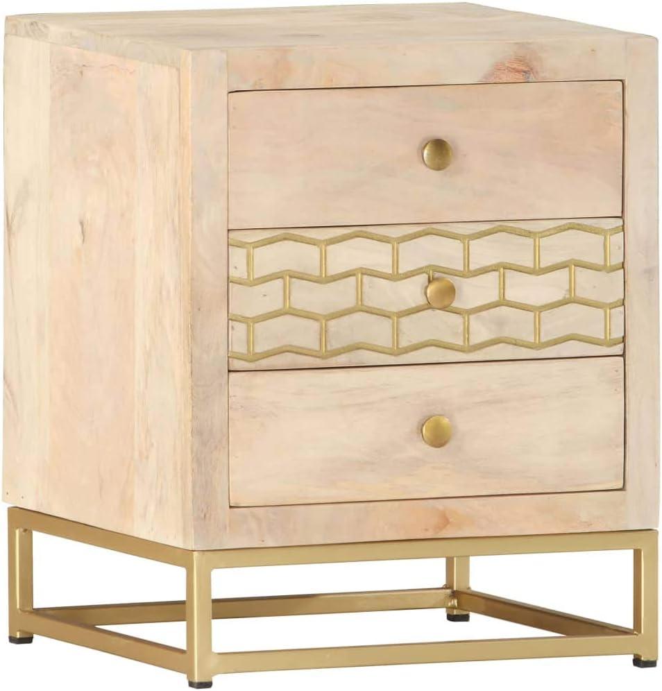 Mesa madera maciza patas doradas