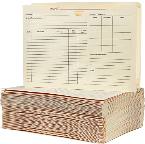 """Greenco File Folder Jackets, Letter Size, Manila, Preprinted, Expands 2"""" inches, Reinforced Tabs, 9.5"""" x 11.5"""" inches – Pack of 50"""