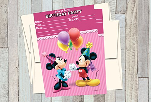 12 MICKEY AND MINNIE Pink Birthday Invitations (12 5x7in Cards, 12 matching white envelopes)