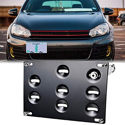 GTP Front Bumper Tow Hook License Plate Mounting Bracket Holder Relocator for VW 10-14 Golf, 06-09 R32 GTI, MK5 MK6, 05-10 Jetta, 11-14 Jetta Sportwagon, EOS, 07-14 Audi TT