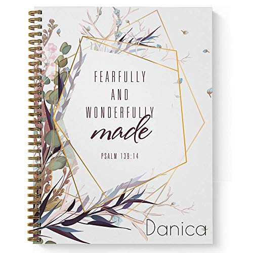 Wonderfully Made Personalized Religious Notebook/Journal, Laminated Soft Cover, 120 College Ruled pages, lay flat wire-o spiral. Size: 8.5