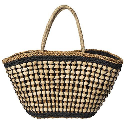 Becksöndergaard Basia Bag für Damen in Schwarz Beige - Einkaufstasche/Korbtasche/Strandtasche aus Papierstroh und Bast - 60x28 cm - 412002-010