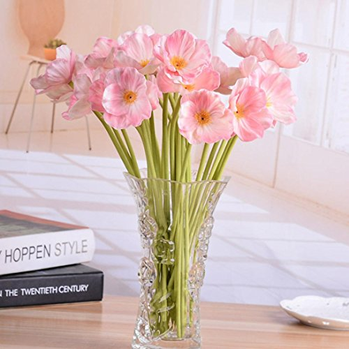 i Real Touch Poppies Flowers Decorative Bouquet for Home Decor (Pink) (Eucalyptus Lavender Bouquet)