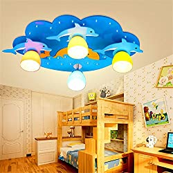 JhyQzyzqj Pendant Lights Chandeliers Ceiling Lights Modern minimalist restaurant living room art bar bedroom personality creativeChildren's room children's room led boys cartoon eye dolphin wood 69 X 43CM bright+remote control+aluminum LED
