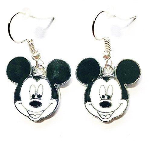 Dangle Disney Earrings (Disney Mickey Mouse Head Cartoon Character Metal Drop Dangle Hook Earrings W/Gift Box)