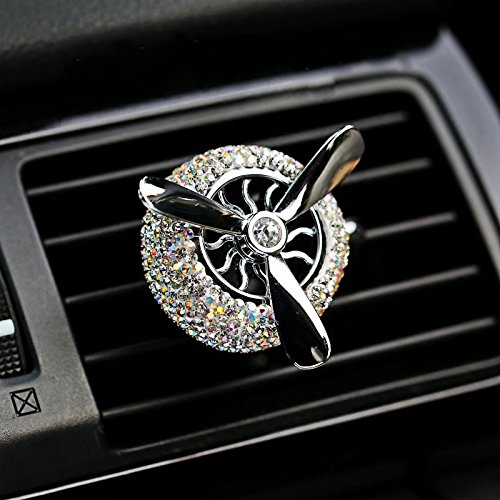 (TISHAA Bling Diamond Car Air Freshener Solid Fragrance Smell Outlet Vent Clip Styling Crystal Air Force 3 Propeller Aromatic Car Perfumes (Propeller Fan Air Freshener))