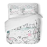 SanChic Duvet Cover Set Blue Africa Elephant in Love Pink Animal Baby Childish Couple Cute Decorative Bedding Set with 2 Pillow Shams Full/Queen Size