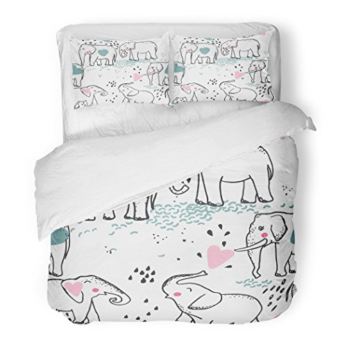 SanChic Duvet Cover Set Blue Africa Elephant in Love Pink Animal Baby Childish Couple Cute Decorative Bedding Set with 2 Pillow Shams Full/Queen Size by SanChic