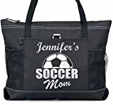Soccer Mom Tote Custom Player Name in Silver and White glitter on a Large Black Tote