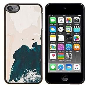 TECHCASE---Cubierta de la caja de protección para la piel dura ** Apple iPod Touch 6 6th Touch6 ** --Acuarela del acantilado Ondas Shore