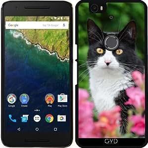Funda para Google Nexus 6P (Huawei) - Negro Gato Blanco Flores De Color Rosa by Katho Menden