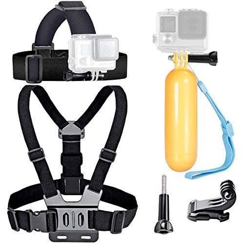 VVHOOY Action Camera Head Strap Mount with Chest Strap Harness Mount and Floating Handle Grip Stick Compatible with GO Pro Hero 7 6 5/VanTop 4K/APEMAN/AKASO Action Camera Underwater Diving Accessories