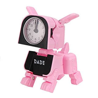 Javpoo Piccola sveglia di, mini giocattoli alla moda elettronici di deformazione Cane macchina sveglia degli animali con a tre colori per
