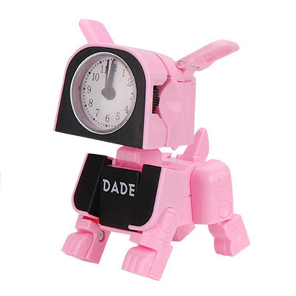 Hstore ✿Clock Small Deformation Clock Toys Dog Mini Alarm Electronic Machine Used School Children's Creative Clock (Pink, as Shown)