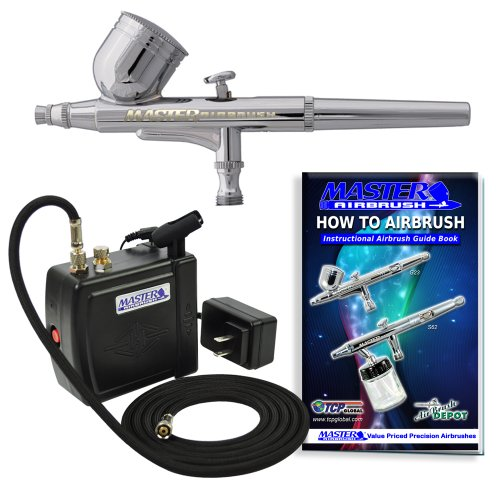 Multi-purpose Airbrush Kit with Mini Compressor, Dual-action Gravity Feed Airbrush and Air Hose by Master Airbrush
