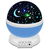 IEKA Night Light LED Moon and Star Romantic Rotating Sky & Cosmos Cover Projector Night Lighting for Children Adults Bedroom, Mood/Decorative Light, Baby Nursery Light, Living Room Gift (Blue)